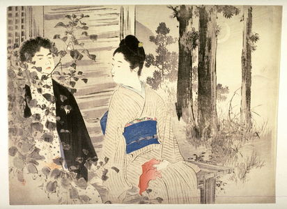 水野年方: Couple Seated on a Temple Porch in Moonlight, frontispiece for a novel - Legion of Honor