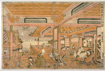 Utagawa Toyoharu: Thd Seven Gods of Good Fortune Celebrating Their Longevity (Shichifukujin kotobuki suehiro asobi no zu) from the series Perspective Pictures (Ukie) - Legion of Honor