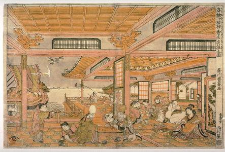 Utagawa Toyoharu: Thd Seven Gods of Good Fortune Celebrating Their Longevity (Shichifukujin kotobuki suehiro asobi no zu) from the series Perspective Pictures (Ukie) - Legion of Honor