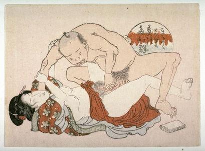 Utagawa School: Man crouching over woman - Legion of Honor