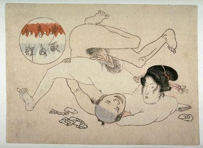 Utagawa School: Woman supine on man doing shoulder stand - Legion of Honor