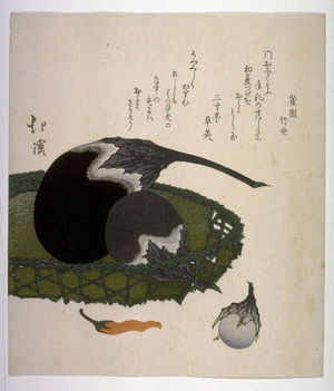 Totoya Hokkei: Eggplants and Red Pepper, facsimile of print by Hokkei from the set of Three Lucky Dreams originally published in late 1820s - Legion of Honor