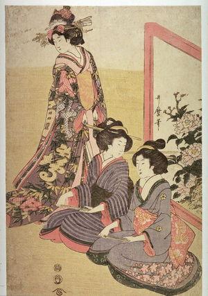 喜多川歌麿: Women Watching a Boy Dance by a Painted Screen, panel from an incomplete triptych - Legion of Honor