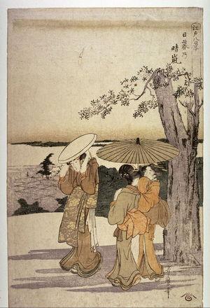 Kitagawa Utamaro: Hare on a Clear Day at Nippori (Nippori no seiran) from the series Eight Views of Edo (Edo hakkei) - Legion of Honor
