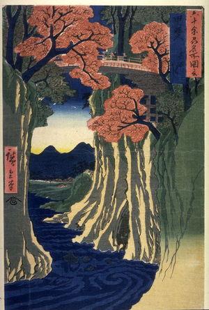 歌川広重: The Monkey Bridge in Kai Province (Kai saruhashi), from the series Pictures of Famous Places in the Sixty-odd Provinces (Rokujuoshu meisho zue) - Legion of Honor