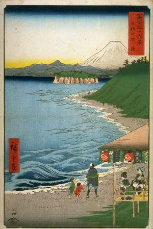 歌川広重: Seven-ri Beach in Sagamai Province (Sagami shichirigahama), from the seriesThirty-six Views of Mt. Fuji (Fuji sanjurokkei) - Legion of Honor