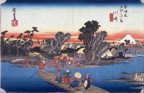 Utagawa Hiroshige: The Rokugo Ferry at Kawasake (Kawasaki rokugo watashibune), no. 3 from the series Fifty-three Stations of the Tokaido (Tokaido gojusantsugi no uchi) - Legion of Honor