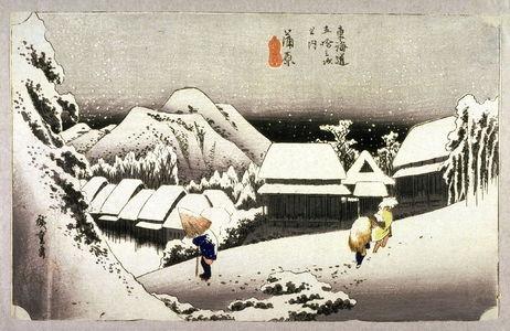 歌川広重: Evening Snow at Kambara (Kambara yoru no yuki), no. 16 from the series Fifty-three Stations of the Tokaido (Tokaido gosantsugi no uchi) - Legion of Honor