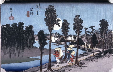 Utagawa Hiroshige: Twilight at Numazu (Numazu tasogare zu), no. 13 from the series Fifty-three Stations of the Tokaido (Tokaido gojusantsugi no uchi) - Legion of Honor