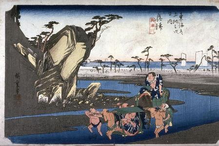 Utagawa Hiroshige: The Okitsu River near Okitsu (Okitsu okitsugawa), no. 18 from the series Fifty-three Stations of the Tokaido (Tokaido gosantsugi no uchi) - Legion of Honor