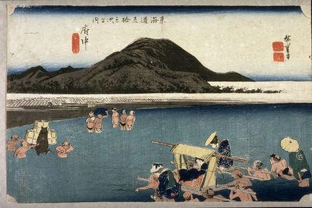 歌川広重: The Abe River near Fuchu (Fuchu abegawa), no. 20 from the series Fifty-three Stations of the Tokaido (Tokaido gosantsugi no uchi) - Legion of Honor