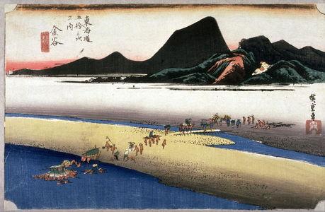 Utagawa Hiroshige: The Totomi Bank of the Oi River near Kanaya (Kanaya oigawa engan), no. 25 from the series Fifty-three Stations of the Tokaido (Tokaido gosantsugi no uchi) - Legion of Honor