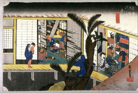 歌川広重: Waitresses at an Inn at Akasaka (Akasaka ryosha shofu no zu), no. 37 from the series Fifty-three Stations of the Tokaido (Tokaido gosantsugi no uchi) - Legion of Honor