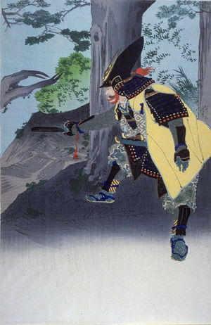 Migita Toshihide: Kato Kiyomasa lifting a tree (second of triptych) - Legion of Honor
