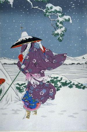 水野年方: Omae in the midst of the snow (second in triptych) - Legion of Honor