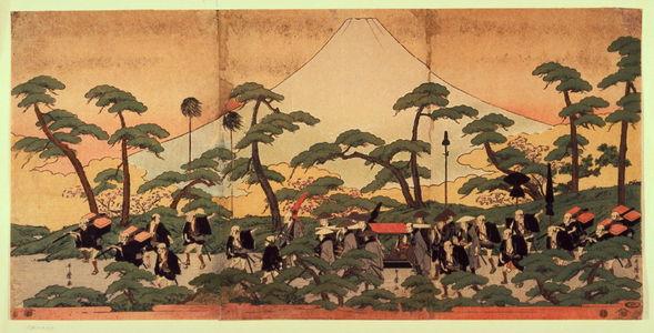 喜多川歌麿: Procession Passing Mt. Fuji - Legion of Honor