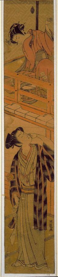 Isoda Kory?sai: Girl on Balcony Tossing Ball at Youth with Love Letter (Chushingura, Act VII) - Legion of Honor