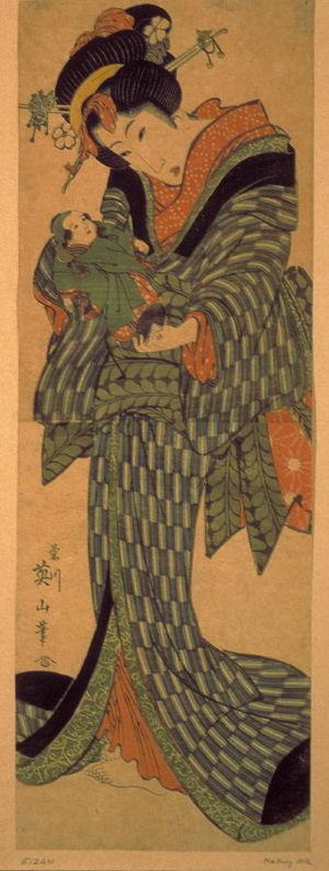 Kikugawa Eizan: Young Woman with Doll - Legion of Honor