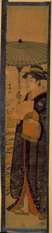 Katsukawa Shuncho: Woman with Umbrella near Mimeguri Shrine - Legion of Honor
