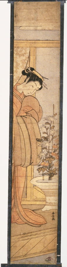 奥村政信: Woman Viewing Chrysanthemums - Legion of Honor