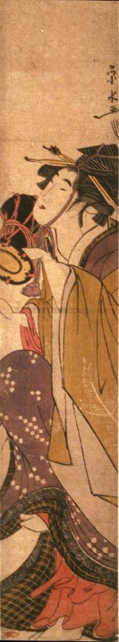 一楽亭栄水: Geisha Dancing with a Hand Drum - Legion of Honor