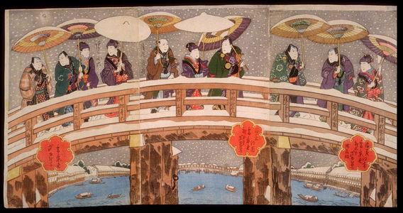 芦幸: Snow in the Konan District of Osaka: Actors on the Tenjin Bridge over the Yodo River (Naniwa konan yuki no keishiki) - Legion of Honor