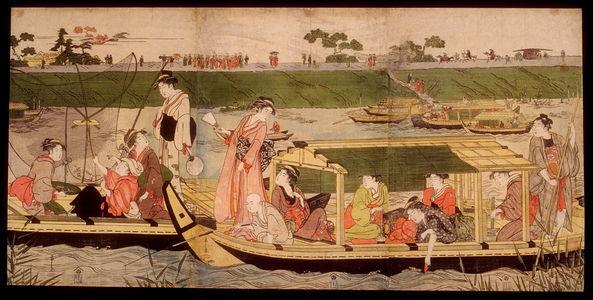 Eishi: Women in Boats near the Mimeguri Shrine on the Sumida River - Legion of Honor
