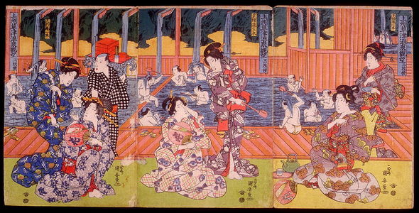歌川国安: View of Kusatsu Hot Springs in Kozuke Province, a triptych : Geisha by a Bathing Pool (Joshu Kusatsu onsen kando, sammai tsuruki) - Legion of Honor