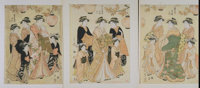 Eishi: Courtesans Hanaogi of the Ogiya Attended by Yoshino and Tatsuta, Senzan of the Chojiya Attended by Yasoji and Isoji, Segawa of the Matsubaya attended by Takeno and Sasano (Ogiya no uchi Hanaogi, Yoshino, Tatsuta; Chojiya no uchi Senzan, Yasoji, Isoji; Matsubaya no uchi, Segawa, Takeno, Sasano - Legion of Honor