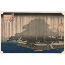 歌川広重: Night Rain on the Karasaki Pine (Karasaki no yau), from the series Eight Views of ?mi Province (?mi hakkei) - Legion of Honor