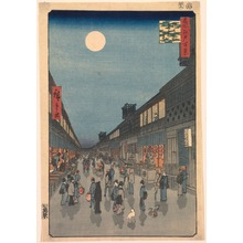 歌川広重: Night View of Saruwaka Street (Saruwakach? yoru no kei), no. 90 from the series One Hundred Views of Famous Places in Edo (Meisho Edo hyakkei) - Legion of Honor