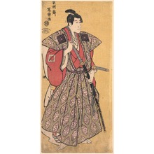 Toshusai Sharaku: The Actor Ichikawa Danj?r? VI as Fuwa Bansaku in the Play 'Kasei sanbon karakasa,' from an untitled series of portraits of actors with yellow backgrounds - Legion of Honor