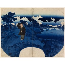 Utagawa Kunisada: The Poet Kikaku Walking along the Mimeguri Embankment in Rain - Legion of Honor
