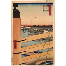 Utagawa Hiroshige: Edo Bridge from Nihon Bridge (Nihonbashi Edobashi), no. 43 from the series One Hundred Views of Famous Places in Edo (Meisho Edo hyakkei) - Legion of Honor