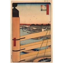 歌川広重: Edo Bridge from Nihon Bridge (Nihonbashi Edobashi), no. 43 from the series One Hundred Views of Famous Places in Edo (Meisho Edo hyakkei) - Legion of Honor