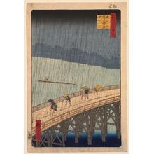 歌川広重: Evening Rain at Atake on the Great Bridge (?hashi Atake no y?dachi), no. 52 from the series One Hundred Views of Famous Places in Edo (Meisho Edo hyakkei) - Legion of Honor