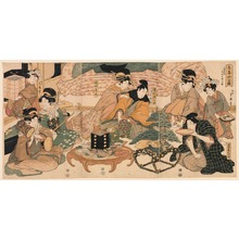 喜多川月麿: The Courtesan Takao Entertaining the Actors Sawamura Gennosuke and Iwai Kiyotar? at the Miuraya - Legion of Honor