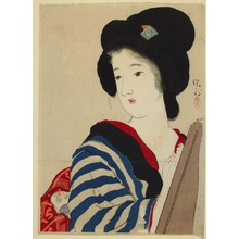 Kaburagi Kiyokata: Half-length figure of a woman before a mirror, frontispiece for a novelette - Legion of Honor