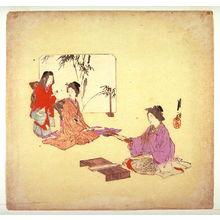 Gekko: Untitled design for a fan print (Women with Poem Slips...) - Legion of Honor