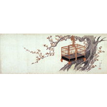 柳々居辰斎: [Caged warbler on plum tree] - Legion of Honor