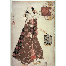 Utagawa Toyokuni I: Komachi Coming and Going (Kayoi komachi), from the series Modern Girls in Scenes from the Life of Komachi (Imayo musume komachi) - Legion of Honor