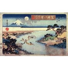 Utagawa Toyoshige: Autumn Moon on the Tama River, Net Fishing for Trout ( Tamagawa shugetsu tamagawa ayukumi no zu from the series Eght Views of Famous Places (Meisho hakkei) - Legion of Honor
