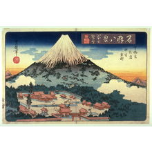 Utagawa Toyoshige: Evening Snow on Mt. Fuji, the Lower, Later, and Middle ShrInes (Fuji bosetsu shita sengen ato no miya haka no miye zen zu) , from the series Eight Views of Famous Shrines (Meisho hakkei) - Legion of Honor