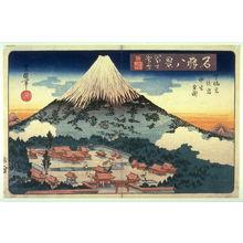 Utagawa Toyoshige: Evening Snow on Mt. Fuji, the Lower, Later, and Middle ShrInes (Fuji bosetsu shita sengen ato no miya haka no miye zen zu) , from the series Eight Views of Famous Shrines (Meisho hakkei) - Legion of Honor