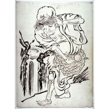 Unknown: [he Taoist Immortal Gama Carrying His Toad and a Peach, from a series of prints n the Kano style - Legion of Honor