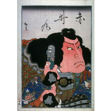 Utagawa Hirosada: Mimasu Daigoro IV as Kijomaru , leftpanel of a triptych with Ichikawa Ebizo V as Ono no Imoko, and Kataoka Ichizo I as Akaimaru in Shitenoji garan - Legion of Honor