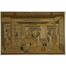 Torii Kiyotada I: A Tea House in the Yoshiwara, with a Game of Backgammon - Legion of Honor