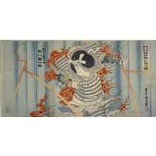 Toyohara Kunichika: Ichikawa Danjuro IX as the Ghost of Akugenta Yoshihira at the Nunobiki Waterfall - Legion of Honor