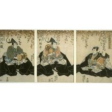 豊原国周: The Actors Ichimura Uzaemon as Ashikaga Mitsuuiji; Sawamura Tossho as Ashikaga Yoshihisa; Ichikawa Kuzo as Usanoshin Kunisuke - Legion of Honor