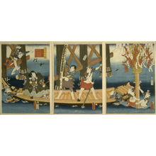 歌川国貞: A Parody of the Noh Play, Benkei in the Boat - Legion of Honor